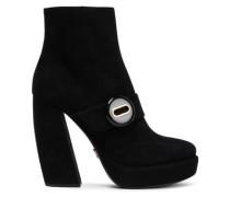 Button-embellished Suede Platform Ankle Boots Black