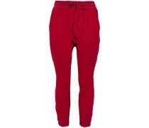 Cropped Cotton-twill Track Pants Crimson