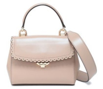 Scallop-trimmed Leather Shoulder Bag Mushroom Size --