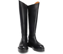 Canada Leather Platform Knee Boots Black