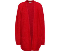 Brushed-knitted Cardigan Red