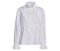 Ruffle-trimmed shirred cotton-poplin blouse