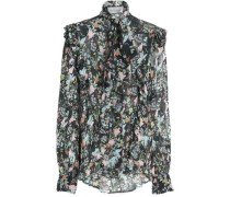 Annie pussy-bow floral-print silk-georgette blouse