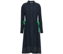 Bow-detailed Silk Crepe De Chine Shirt Dress Navy