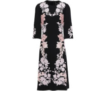Woman Embroidered Crepe Dress Black