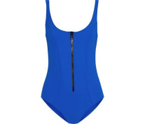 Jasmine Zip-detailed Bonded Swimsuit Royal Blue Size 1