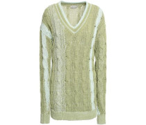 Two-tone Cable-knit Cotton-blend Sweater Light Green