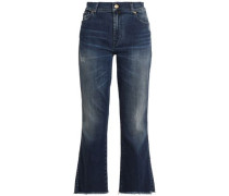 Distressed faded mid-rise bootcut jeans