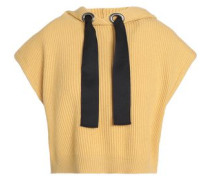 Bead-embellished Cashmere Hooded Top Mustard