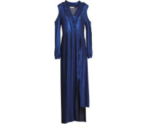 Cold-shoulder Pleated Crepe Maxi Dress Royal Blue