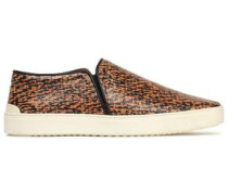Printed textured-leather slip-on sneakers