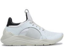 Perforated Leather And Mesh Sneakers Off-white