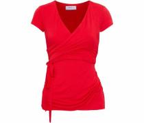 Wrap-effect mélange stretch-jersey top
