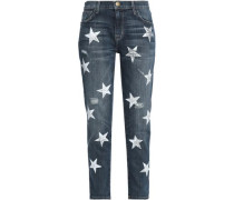 Distressed Printed High-rise Slim-leg Jeans Mid Denim  6