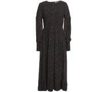 Woman Shirred Polka-dot Georgette Midi Dress Black