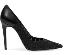 Embellished paneled leather and mesh pumps