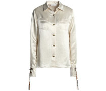 Floral-appliquéd hammered-satin shirt