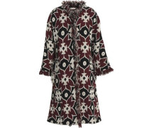 Frayed jacquard coat