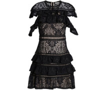 Jolie ruffle-trimmed macramé lace mini dress