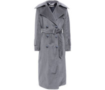 Belted Cotton-blend Corduroy Trench Coat Gray