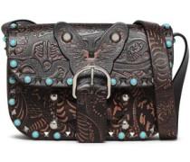 Rockstud Rolling Embossed Leather Shoulder Bag Dark Brown Size --
