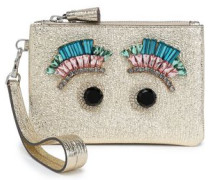 Crystal-embellished Metallic Cracked-leather Pouch Platinum Size --