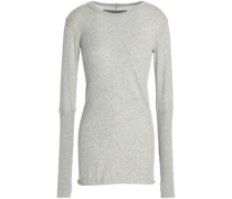 Rib-paneled Cotton And Cashmere-blend Top Light Gray