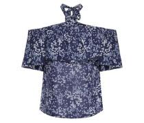 Cold-shoulder Ruffled Floral-print Crepe De Chine Top Navy