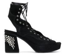 Lace-up studded suede platform sandals