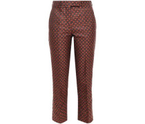 Woman Jacquard Slim-leg Pants Orange