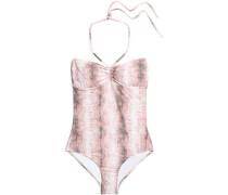 Calabria snake-print halterneck swimsuit