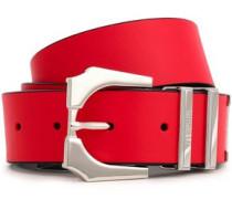 Embellished Leather Belt Tomato Red  0