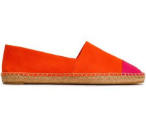 Two-tone Leather And Suede Espadrilles Bright Orange