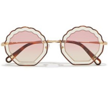 Woman Round-frame Acetate And Gold-tone Sunglasses Brown