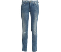Distressed faded mid-rise slim-leg jeans