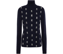 Woman Crystal-embellished Merino Wool Turtleneck Sweater Navy