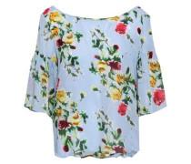 Marni Floral-print Silk-chiffon Blouse Sky Blue