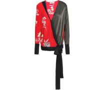 Paneled Floral-print Silk Wrap Blouse Red