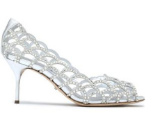 Crystal-embellished Suede And Leather Pumps Silver