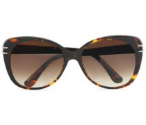 D-frame tortoiseshell acetate and silver-tone sunglasses