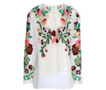 Embroidered silk-organza blouse