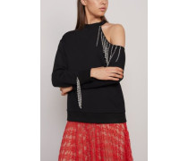 Cutout Embellished French Cotton-terry Sweatshirt Black