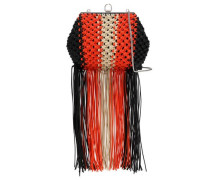 Woman Fringe-trimmed Braided Woven Shoulder Bag Orange