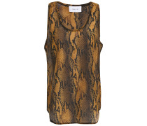 Woman Snake-print Cotton And Silk-blend Voile Tank Brown