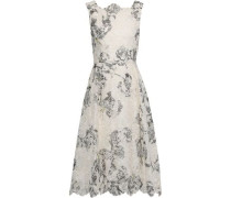 Mara Printed Broderie Anglaise Silk Dress White