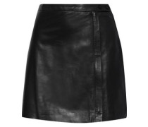 Leather Mini Wrap Skirt Black Size 14