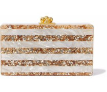 Jean striped box marbled acrylic clutch