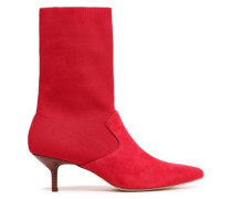 Annalise Suede And Stretch-knit Sock Boots Red