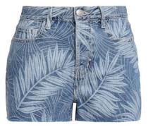 Printed Denim Shorts Light Denim  5