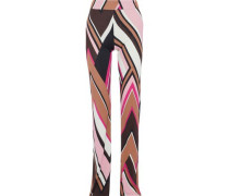 Printed Jersey Flared Pants Baby Pink